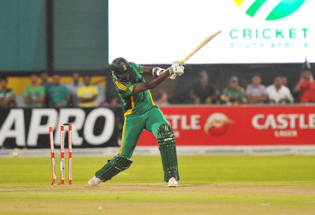 Lonwabo Tsotsobe of South Africa gets bowled during the 2nd One Day International match between South Africa and New Zealand at De Beers Diamond Oval on January 22, 2013 in Kimberley, South Africa.(Photo by Duif du Toit/Gallo Images/Getty Images)