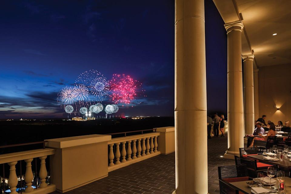 For dinner and a show, you can't beat Capaon the 17th floor of the Four Seasons Orlando, with views of Disney them park fireworks.