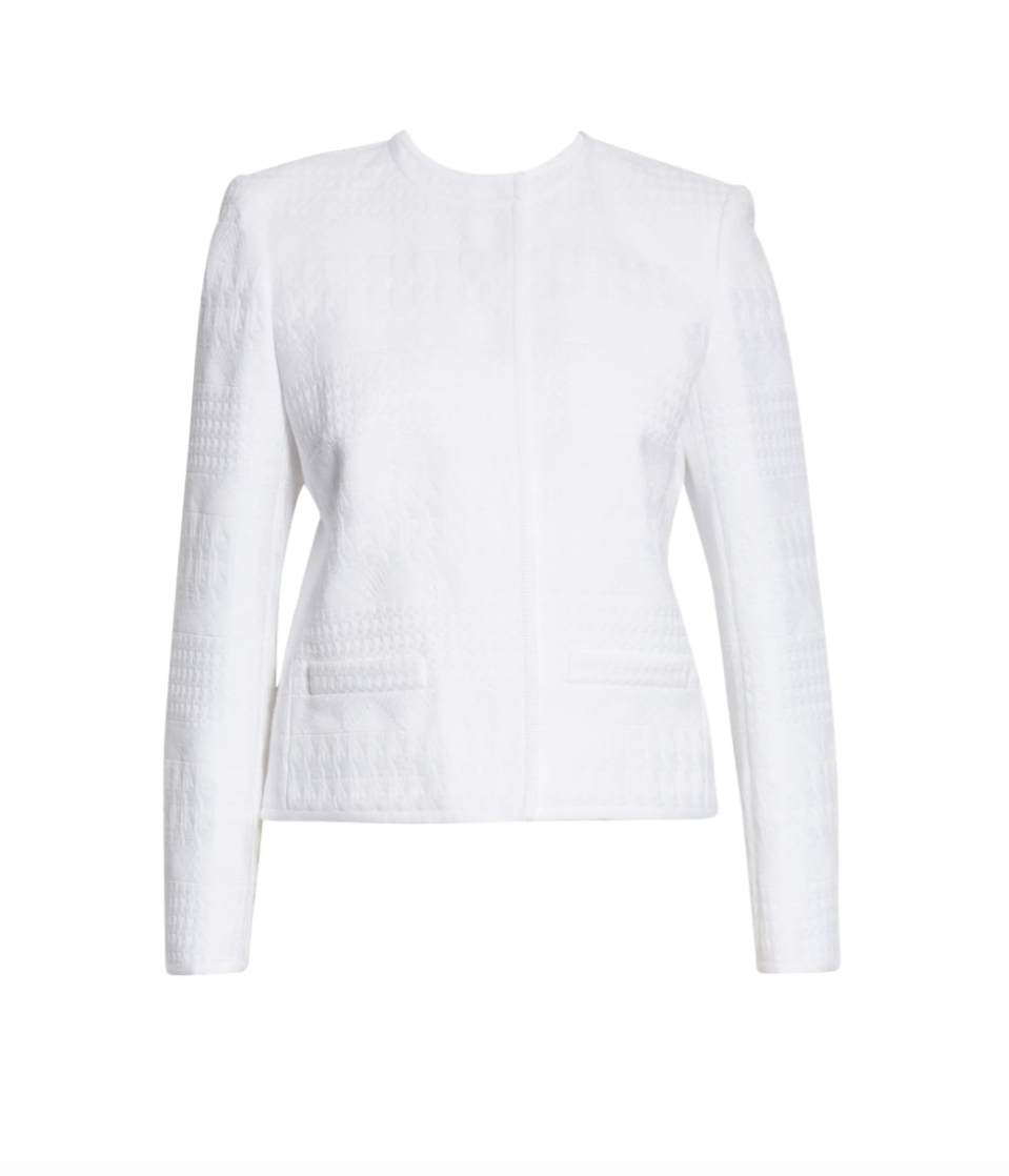 """<p><strong>Lafayette 148</strong></p><p>nordstrom.com</p><p><strong>$798.00</strong></p><p><a href=""""https://go.redirectingat.com?id=74968X1596630&url=https%3A%2F%2Fwww.nordstrom.com%2Fs%2Flafayette-148-new-york-kade-tweed-jacket%2F5852120&sref=https%3A%2F%2Fwww.townandcountrymag.com%2Fstyle%2Ffashion-trends%2Fg36332074%2Fbest-bridal-wedding-jackets%2F"""" rel=""""nofollow noopener"""" target=""""_blank"""" data-ylk=""""slk:Shop Now"""" class=""""link rapid-noclick-resp"""">Shop Now</a></p><p>For the refined and casual bride, a classic and clean tweed jacket that she will be able to wear well beyond her big day.</p>"""