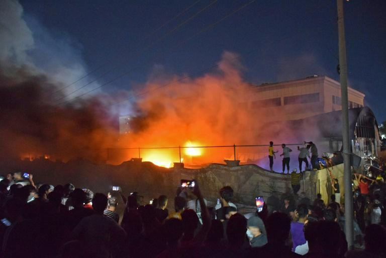Fire engulfs the Covid isolation unit of Al-Hussein hospital in the southern Iraqi city of Nasiriyah