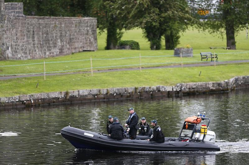 Police patrol the water around the G8 summit venue in Enniskillen, Northern Ireland on Sunday, June 16, 2013. In a two-day meeting, beginning on Monday, global leaders will discuss the economy and exchange views on foreign affairs and security issues. (AP Photo/Lefteris Pitarakis)