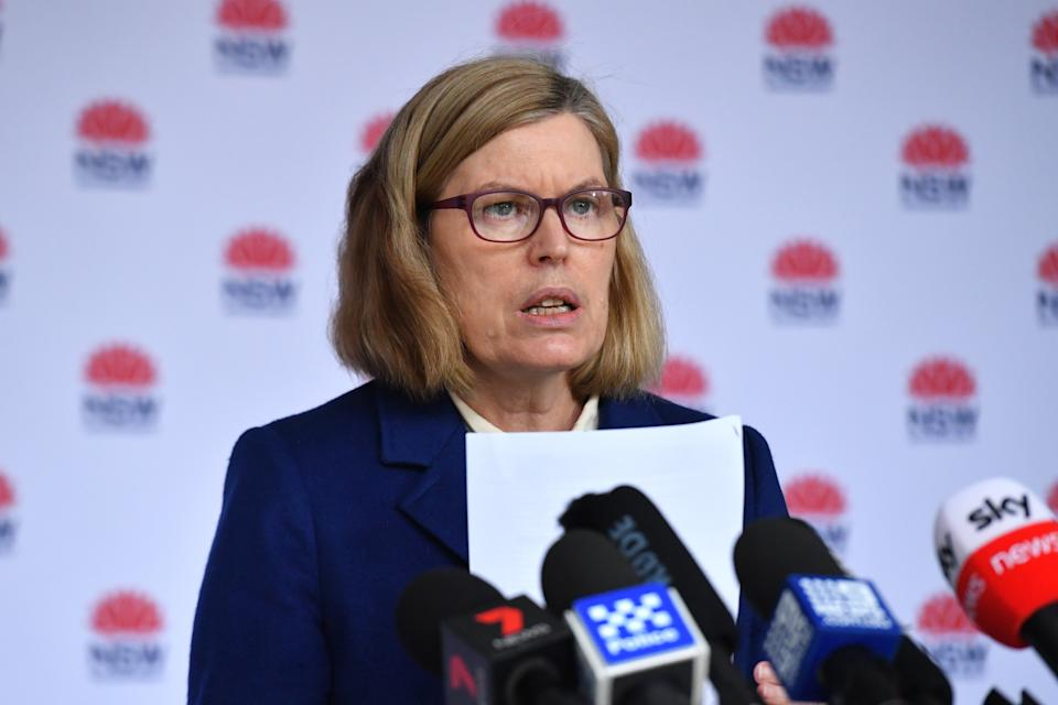 Dr Kerry Chant, the NSW Chief Health Officer, speaks to media.