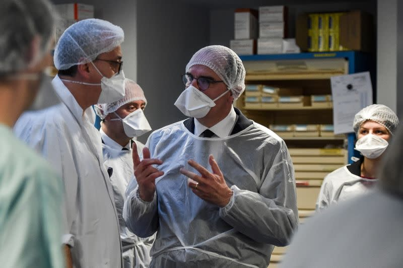 French Prime Minister Jean Castex visits the Centre Hospitalier Universitaire (CHU) hospital of Strasbourg