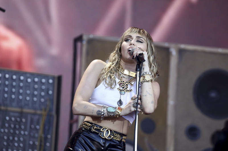 Singer Miley Cyrus performs on the Pyramid Stage on the final day of the Glastonbury Festival at Worthy Farm, Somerset, England, Sunday, June 30, 2019. (Photo by Grant Pollard/Invision/AP)
