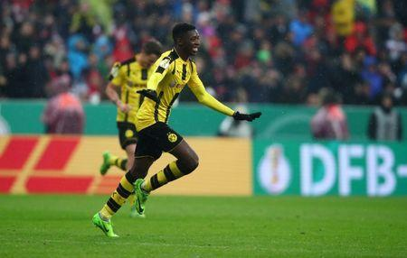 Soccer Football - Bayern Munich v Borussia Dortmund - DFB Pokal Semi Final - Allianz Arena, Munich, Germany - 26/4/17 Borussia Dortmund's Ousmane Dembele celebrates scoring their third goal Reuters / Michael Dalder