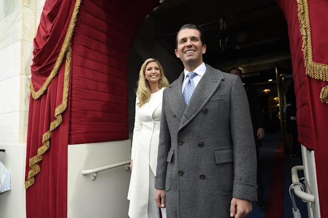 Ivanka and Donald Trump, Jr. arrive for the Presidential Inauguration of Trump at the U.S. Capitol in Washington, D.C., U.S., January 20, 2017. (POOL New / Reuters)