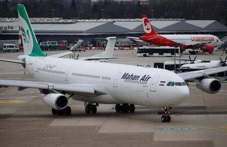 FILE PHOTO: An Airbus A340-300 of Iranian airline Mahan Air taxis at Duesseldorf airport