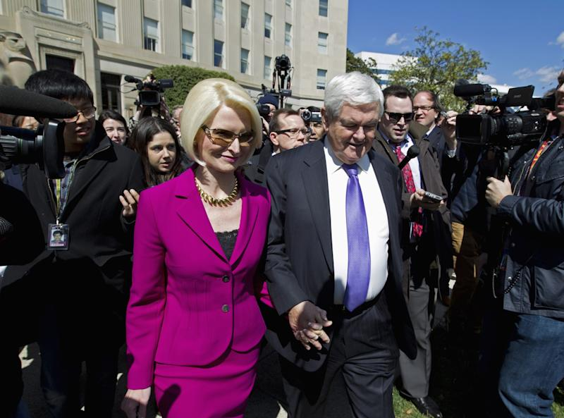 Former House Speaker Newt Gingrich and his wife Callista leaves a closed-door meeting with Republican presidential candidate Donald Trump in Washington on March 21, 2016. (Photo: Jose Luis Magana/AP)