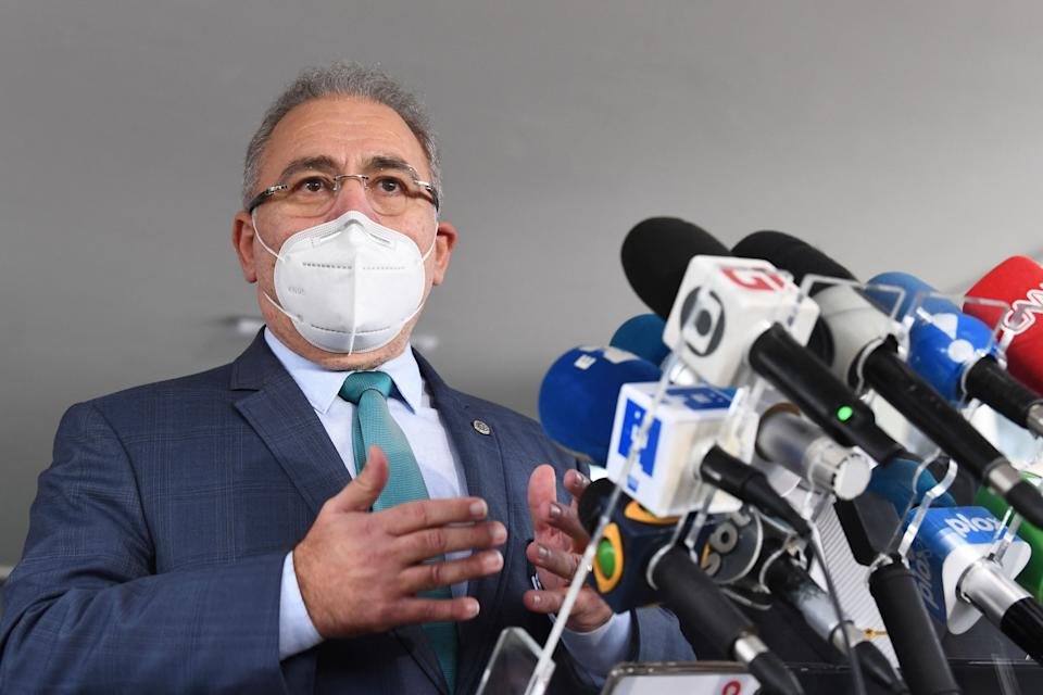 Doctor Marcelo Queiroga, appointed by Brazilian President Jair bolsonaro as Minister of Health talks to the press outside the ministry in Brasilia, on March 16, 2021. - Queiroga replaces the former Minister of Health Eduardo Pazuello at a time when the health system is on the verge of collapse due to the coronavirus pandemic that has already left nearly 280,000 dead. (Photo by EVARISTO SA / AFP) (Photo by EVARISTO SA/AFP via Getty Images)