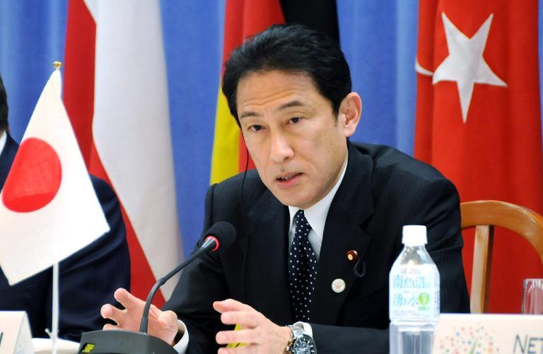 Japanese Foreign Minister Fumio Kishida speaks at a press conference after the two-day Non-Proliferation and Disarmament Initiative ministerial meeting in Hiroshima, on April 12, 2014