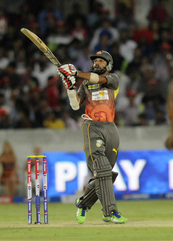 Shikhar Dhawan of Sunrisers Hyderabad bats during match 48 of the Pepsi Indian Premier League between The Sunrisers Hyderabad and Delhi Daredevils held at the Rajiv Gandhi International  Stadium, Hyderabad  on the 4th May 2013..Photo by Pal Pillai-IPL-SPORTZPICS ..Use of this image is subject to the terms and conditions as outlined by the BCCI. These terms can be found by following this link:..https://ec.yimg.com/ec?url=http%3a%2f%2fwww.sportzpics.co.za%2fimage%2fI0000SoRagM2cIEc&t=1505906892&sig=cn5To1uUYxZoWh02keJmPw--~D