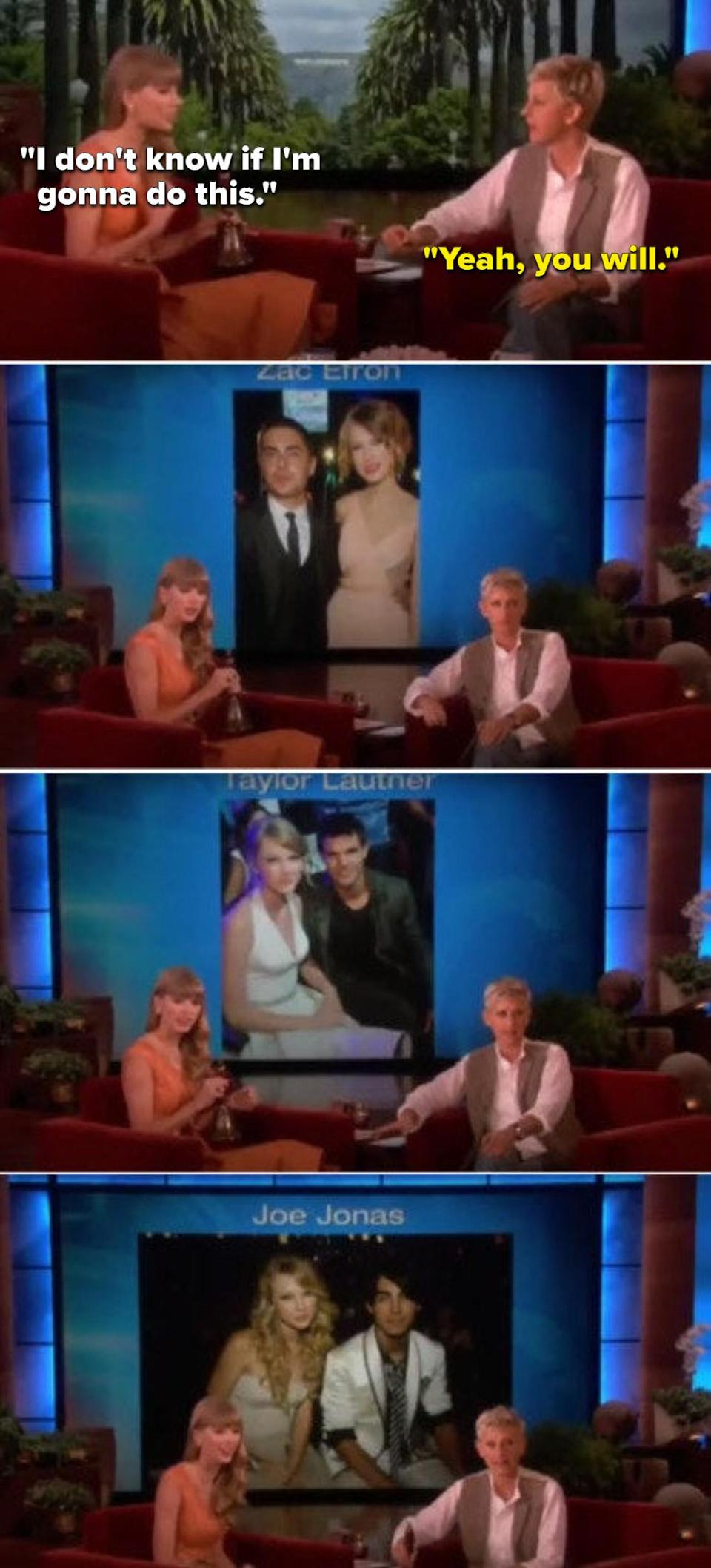 Ellen putting pictures of Taylor's exes on a huge screen