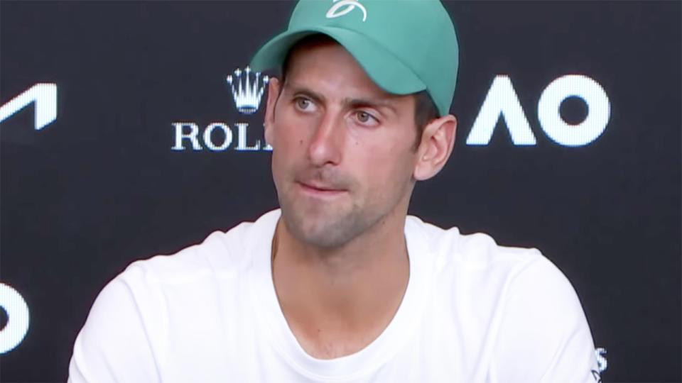 Novak Djokovic, pictured here speaking to the media after winning the Australian Open.