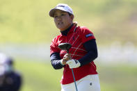 Nasa Hataoka, of Japan, watches her shot form the first playoff hole during the final round of the U.S. Women's Open golf tournament at The Olympic Club, Sunday, June 6, 2021, in San Francisco. (AP Photo/Jed Jacobsohn)