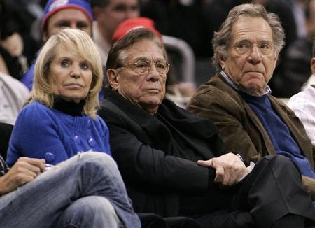 Los Angeles Clippers owner Donald Sterling, his wife Shelly, and actor George Segal attend the NBA basketball game between the Toronto Raptors and the Los Angeles Clippers at the Staples Center in Los Angeles