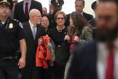 Former U.S. ambassador to Ukraine Yovanovitch arrives for closed-door deposition on Capitol Hill in Washington