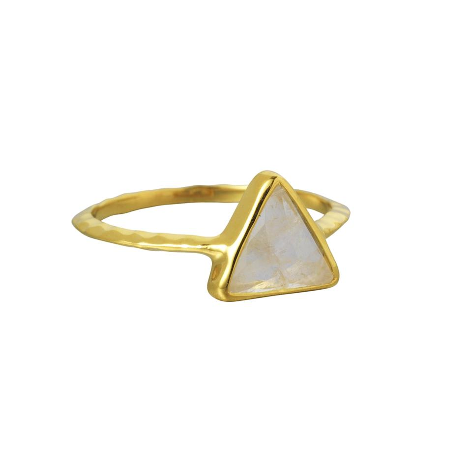 <p>Boasting a semi-precious stone, this minimalist triangle ring is a great gift for any style-conscious woman. Trust us, she'll love it. </p>