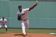 Boston Red Sox's Eduardo Rodriguez delivers a pitch against the New York Yankees in the first inning of a baseball game, Sunday, June 27, 2021, in Boston. (AP Photo/Steven Senne)