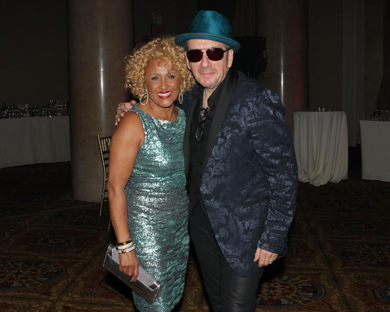 """Singers Darlene Love and Elvis Costello attend the """"Right To Rock Benefit"""" at Cipriani Wall Street, on Thursday, Oct. 17, 2013 in New York. (Photo by Greg Allen/Invision/AP)"""