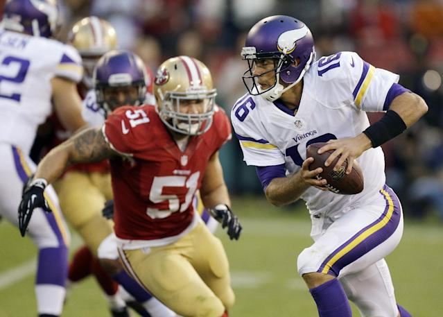 FILE - In this Aug. 25, 2013, file photo, Minnesota Vikings quarterback Matt Cassel (16) scrambles as San Francisco 49ers linebacker Dan Skuta (51) pursues during the fourth quarter of an NFL preseason football game in San Francisco. Cassel will start at quarterback on Sunday against the Pittsburgh Steelers at London's Wembley Stadium, in place of injured Christian Ponder, the team said Friday, Sept. 27, 2013. (AP Photo/Ben Margot, File)