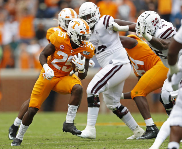 Tennessee defensive back Trevon Flowers (25) returns an interception in the first half of an NCAA college football game against Mississippi State, Saturday, Oct. 12, 2019, in Knoxville, Tenn. (AP Photo/Wade Payne)