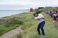 Team USA's Bryson DeChambeau hits on the third hole during a practice day at the Ryder Cup at the Whistling Straits Golf Course Tuesday, Sept. 21, 2021, in Sheboygan, Wis. (AP Photo/Charlie Neibergall)