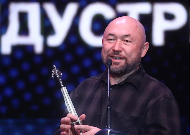 Film director and producer Timur Bekmambetov accepts an award for supporting and developing web industry at the Russian Web Industry Awards. (Photo by Stanislav Krasilnikov\TASS via Getty Images)
