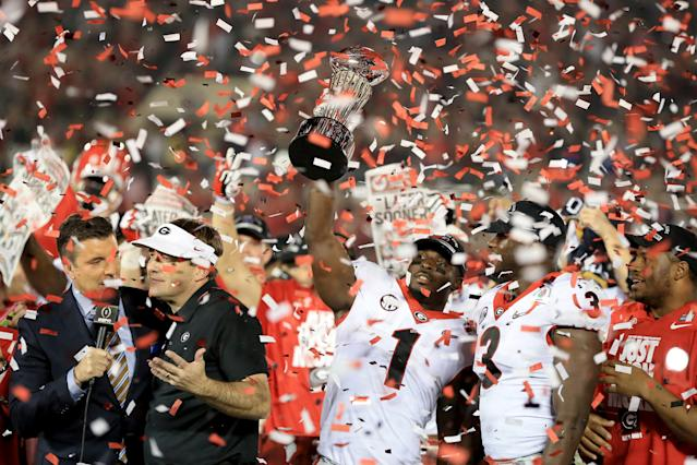 Georgia's dream season has Dawgs fans clamoring for CFP National Championship tickets. (Getty)