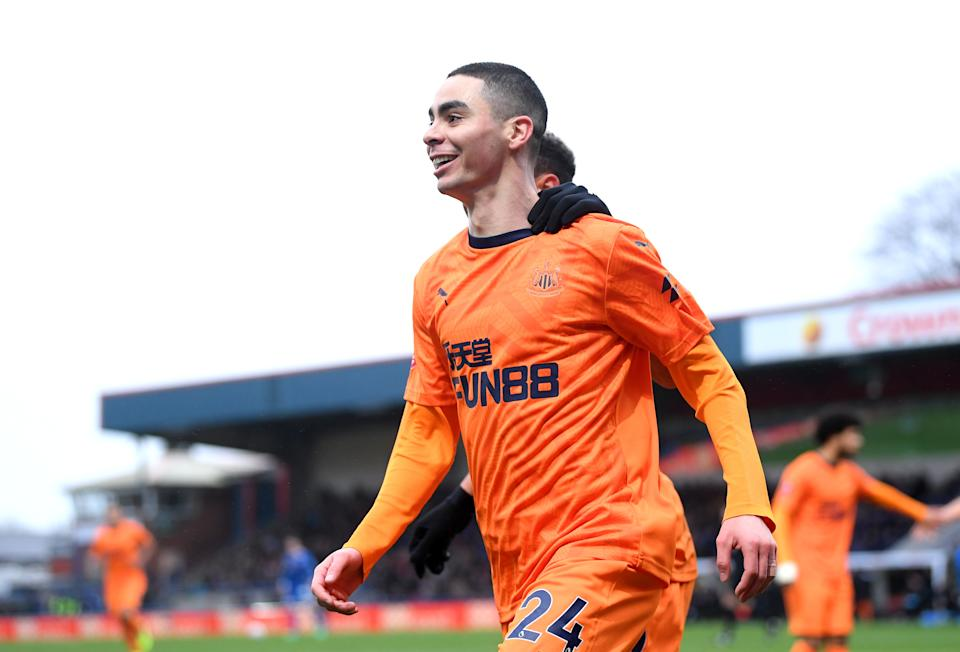 Miguel Almiron of Newcastle United celebrates after scoring his team's first goal. (Credit: Getty Images)