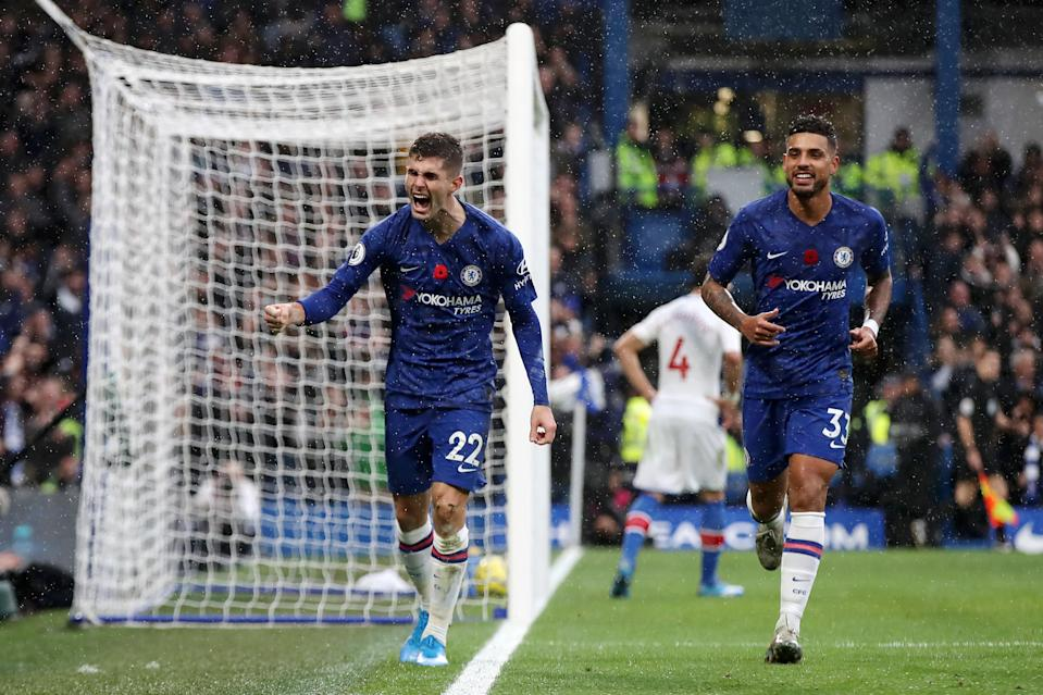 Christian Pulisic celebrates. (Photo by Chris Lee - Chelsea FC/Chelsea FC via Getty Images)