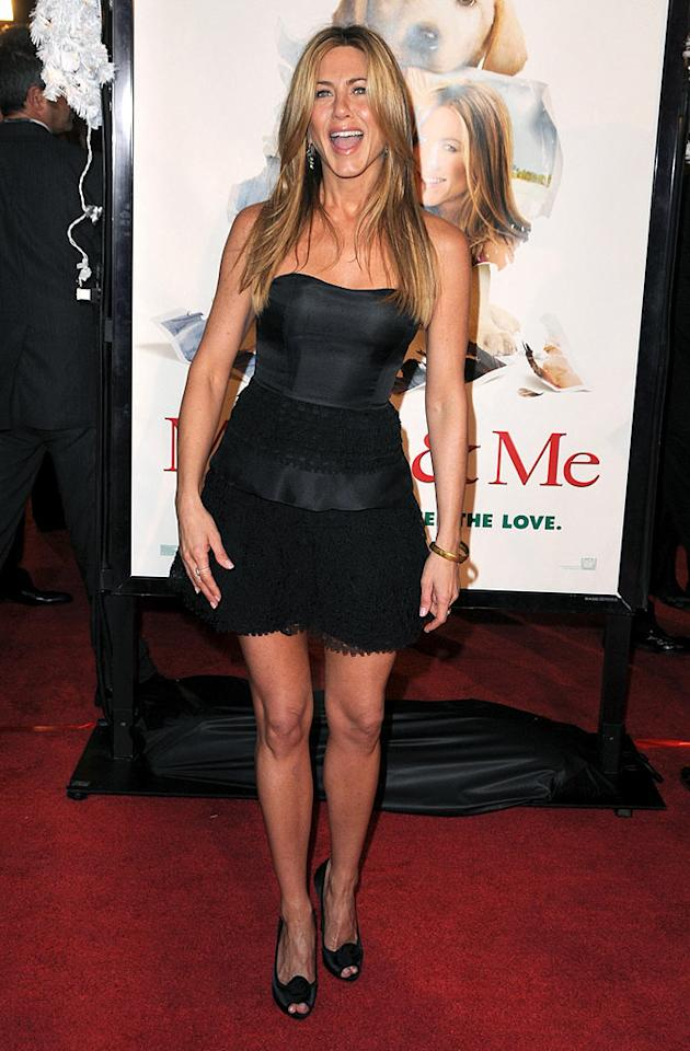 """Jennifer Aniston turned heads in her little black dress at Thursday's """"Marley & Me"""" premiere. But it was the 39-year-old's nearly nude GQ cover that had everyone talking ... and reading. In the interview, Jennifer reveals that while she speaks with her ex-husband Brad Pitt on occasion, she does not communicate with his current partner Angelina Jolie. Steve Granitz/<a href=""""http://www.wireimage.com"""" target=""""new"""">WireImage.com</a> - December 11, 2008"""