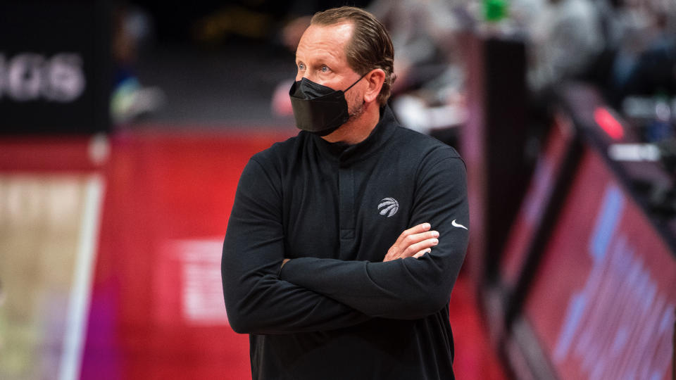 DETROIT, MICHIGAN - MARCH 17: Head Coach Nick Nurse of the Toronto Raptors looks on against the Detroit Pistons during the second quarter at Little Caesars Arena on March 17, 2021 in Detroit, Michigan. NOTE TO USER: User expressly acknowledges and agrees that, by downloading and or using this photograph, User is consenting to the terms and conditions of the Getty Images License Agreement. (Photo by Nic Antaya/Getty Images)