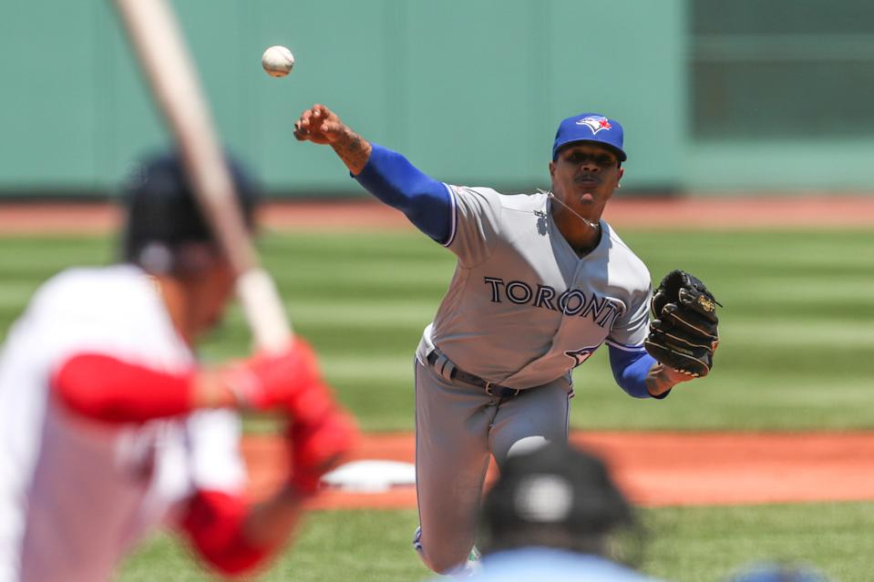 Jun 23, 2019; Boston, MA, USA;  Toronto Blue Jays starting pitcher Marcus Stroman (6) throws a pitch during the first inning against the Boston Red Sox at Fenway Park. Mandatory Credit: Paul Rutherford-USA TODAY Sports