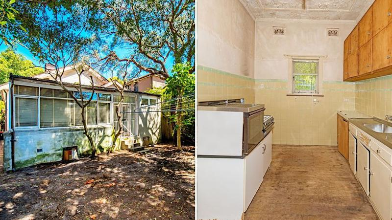 Photos from the inside of the home show worn floorboards and peeling paint on the walls. Source: realestate.com.au.
