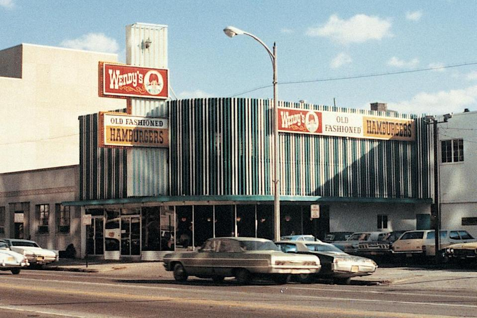 <p>The first Wendy's is seen here in Columbus, Ohio in 1969 -- in original retro fashion. Even from day one, the soon-to-be household name was known for their Frosty desserts.</p>
