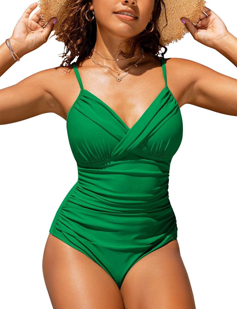 """<strong><em>Hilor Front Twist One-Piece</em></strong><br><br>Amazon user Dancerlady had this to say about this flattering and swimsuit: """"I really like this one piece swimsuit. After receiving it, I ordered another color. I have not been able to wear a swimsuit without a skirt in years because of my belly. The little padding in the bra part and the ruching in the stomach give my body a pleasing look. Even when I weighed 17 pounds less, I looked like a gymnast with a pot belly so this type of swimsuit makes me look more proportioned.""""<br><br><br><strong>Hilor</strong> Front Twist One-Piece, $, available at <a href=""""https://amzn.to/2RZxYtb"""" rel=""""nofollow noopener"""" target=""""_blank"""" data-ylk=""""slk:Amazon"""" class=""""link rapid-noclick-resp"""">Amazon</a>"""
