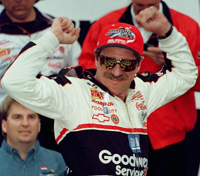 Dale Earnhardt after his long-awaited Daytona 500 victory in 1998. (AP Photo/Terry Renna)