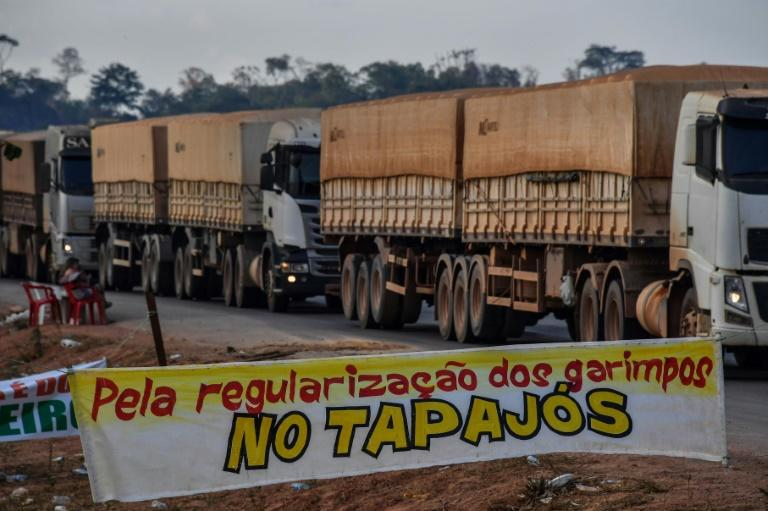 """Truckers line up behind a banner reading """"Legalize wildcat mining"""" in the Tapajos area, at a protest in Morais Almeida, Itaituba, Para state, Brazil, on September 13, 2019 (AFP Photo/NELSON ALMEIDA)"""