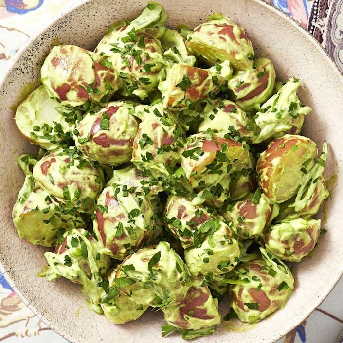 """<p>This bright green side is sure to pop at your July Fourth cookout. Don't skimp out on the celery bits, they add a nice crunch to the otherwise creamy potato salad. </p><p><a href=""""https://www.thepioneerwoman.com/food-cooking/recipes/a35952688/green-goddess-potato-salad/"""" rel=""""nofollow noopener"""" target=""""_blank"""" data-ylk=""""slk:Get the recipe."""" class=""""link rapid-noclick-resp""""><strong>Get the recipe. </strong></a></p><p><a class=""""link rapid-noclick-resp"""" href=""""https://go.redirectingat.com?id=74968X1596630&url=https%3A%2F%2Fwww.walmart.com%2Fsearch%2F%3Fquery%3Dstock%2Bpots&sref=https%3A%2F%2Fwww.thepioneerwoman.com%2Ffood-cooking%2Fmeals-menus%2Fg36353420%2Ffourth-of-july-side-dishes%2F"""" rel=""""nofollow noopener"""" target=""""_blank"""" data-ylk=""""slk:SHOP POTS"""">SHOP POTS</a></p>"""