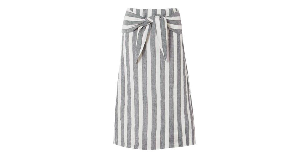 """<p>This striped J.Crew skirt has summer staple writter all over it. Just pair with a white tee, some slip on sandals and go. <br><a rel=""""nofollow noopener"""" href=""""https://www.net-a-porter.com/gb/en/product/1048882/j_crew/shipwreck-striped-linen-midi-skirt"""" target=""""_blank"""" data-ylk=""""slk:Buy here."""" class=""""link rapid-noclick-resp"""">Buy here.</a> </p>"""