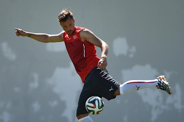 Switzerland's forward Haris Seferovic takes part in a training session at the Municipal Stadium in Porto Seguro during the 2014 FIFA World Cup tournament in Brazil on June 16, 2014 (AFP Photo/Anne-Christine Poujoulat)