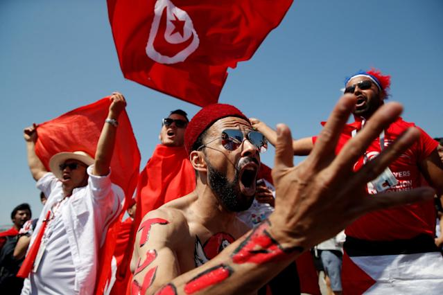 Soccer Football - World Cup - Group G - Belgium vs Tunisia - Spartak Stadium, Moscow, Russia - June 23, 2018 Tunisia fans before the match REUTERS/Carl Recine TPX IMAGES OF THE DAY