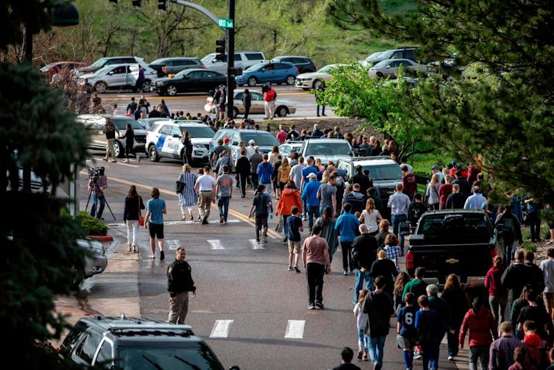Students being evacuated after the shooting in early May.