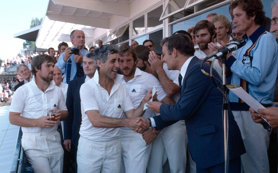 Mike Brearley picks up another unlikely winner's cheque after the victory at Edgbaston - PATRICK EAGAR/GETTY IMAGES