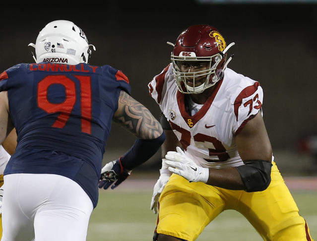 Southern California defensive back Austin Jackson (73) in the first half during an NCAA college football game against Arizona, Saturday, Sept. 29, 2018, in Tucson, Ariz. (AP Photo/Rick Scuteri)