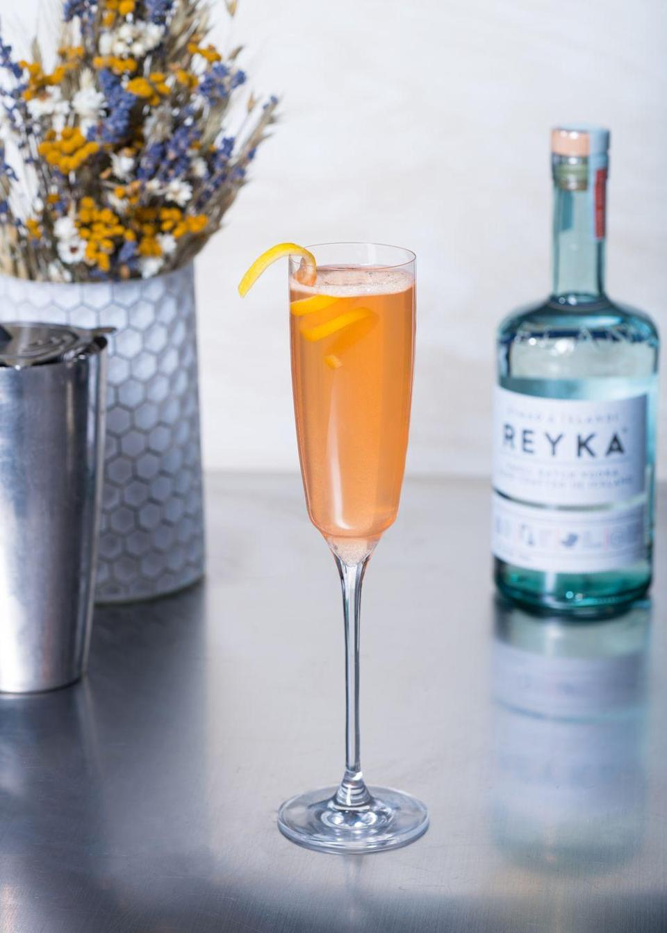 <p><strong>Ingredients</strong></p><p>1 oz Reyka Vodka <br>.5 oz Aperol <br>.5 oz honey syrup <br>.25 oz lemon juice <br>Top with champagne or prosecco </p><p><strong>Instructions</strong></p><p>Combine all ingredients except sparkling wine into a cocktail shaker. Serve in flute, top with champagne or prosecco and garnish with a lemon peel.<br></p>