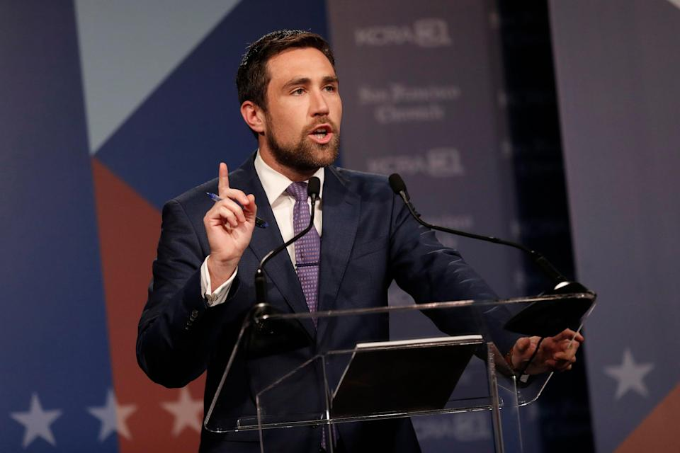 Democrat Kevin Paffrath speaks at a debate of California gubernatorial recall election candidates hosted by KCRA 3 and the San Francisco Chronicle on August 25, 2021 in San Francisco, California (Getty Images)