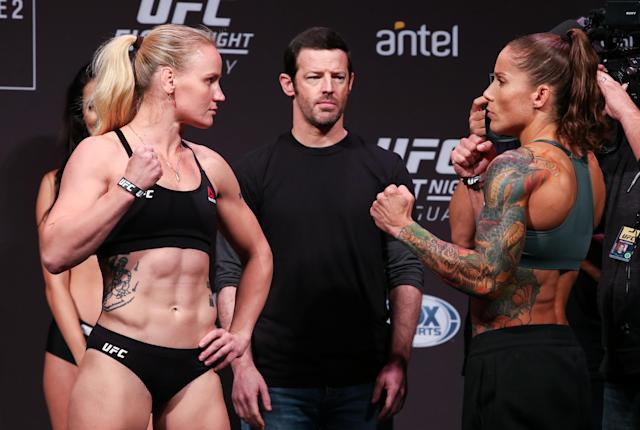 Valentina Shevchenko and Liz Carmouche face off during the UFC Fight Night official weigh-in at Antel Arena on Aug. 9, 2019 in Montevideo, Uruguay. (Zuffa LLC)