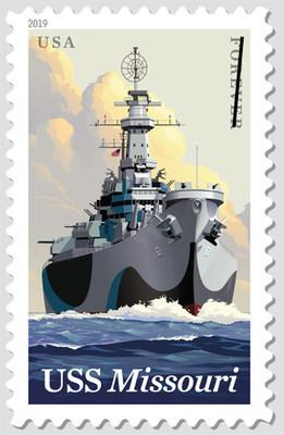 USS Missouri Battleship Sails Again on US Postage Stamp