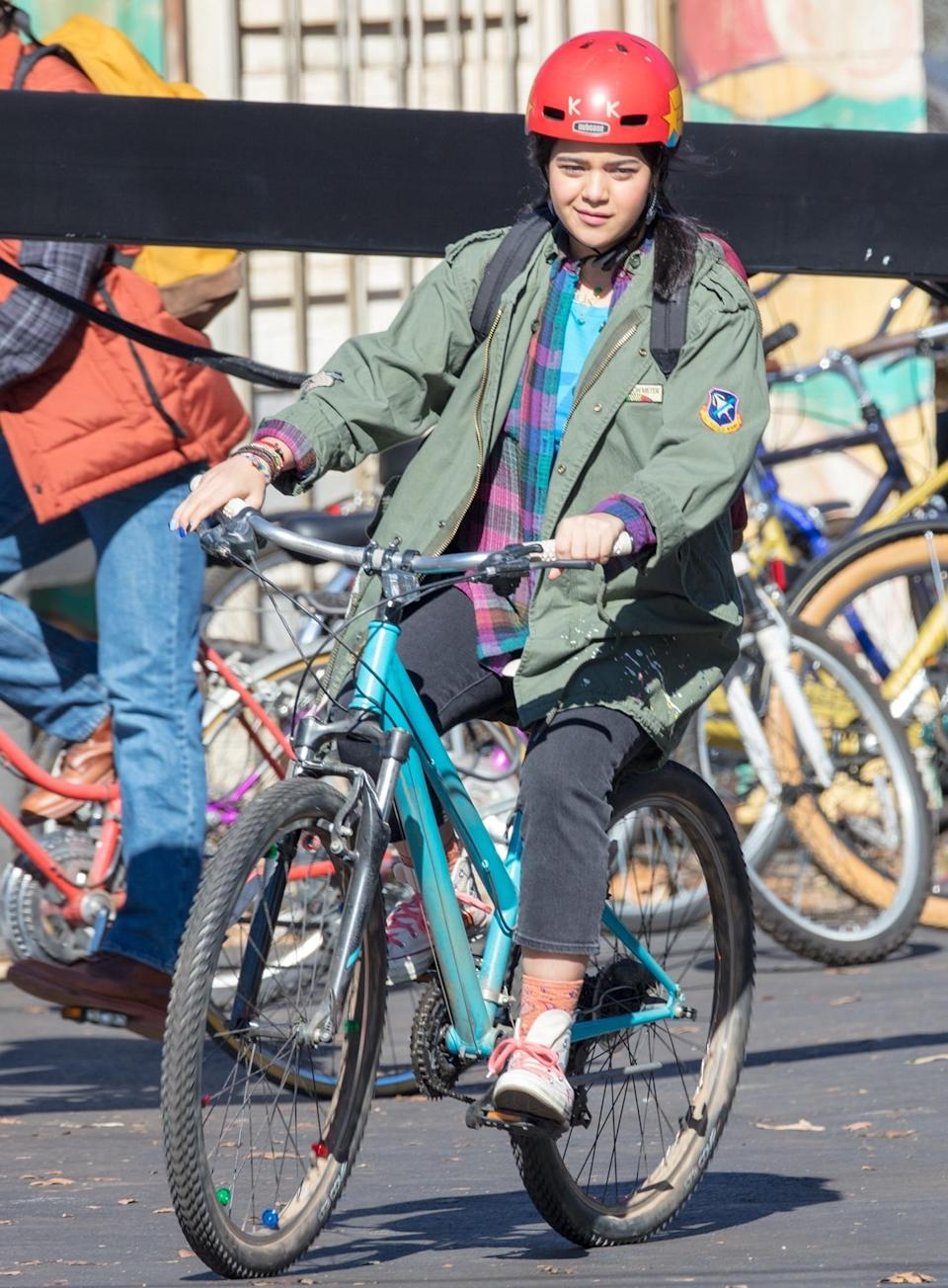 <p>Iman Vellani is seen filming as Ms.Marvel/Kamala Khan, Marvel's first Muslim character to headline her own comic book, in Atlanta on Wednesday.</p>